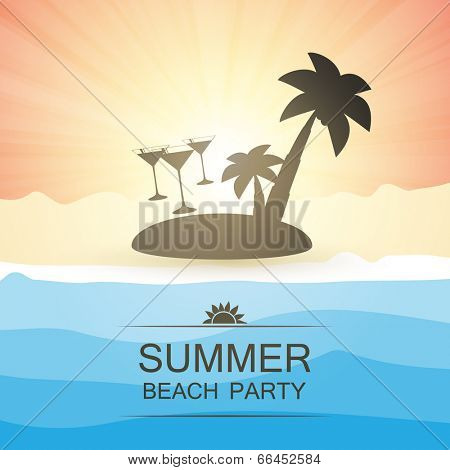 Summer Beach Party Background - Beach, Sunshine, Sand and an Island with Palms. Eps 10 Stock Vector Illustration