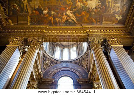 LONDON, UK - MAY 15, 2014: Painted hall in Greenwich. Paintings took for Sir James Thornhill 19 year