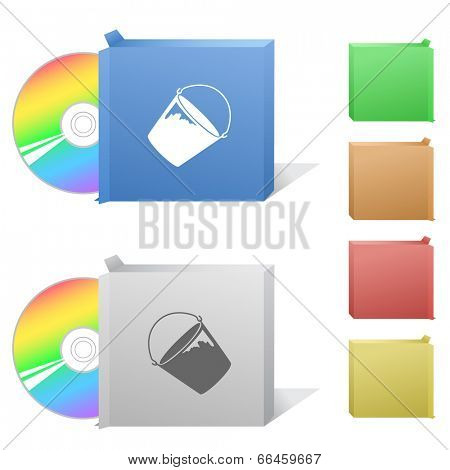 Bucket. Box with compact disc.