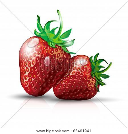 Two Strawberries With Waterdrops