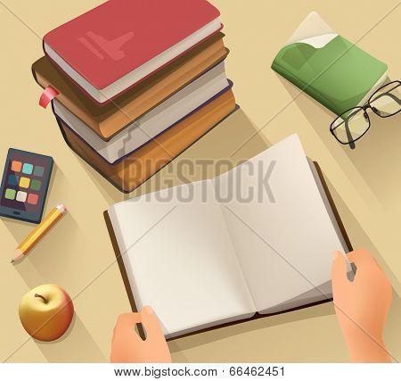 Open book, vector background flat design