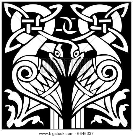 Celtic Viking bird animal pattern
