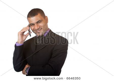 Young handsome business Man Makes Telephone Call with mobile phone