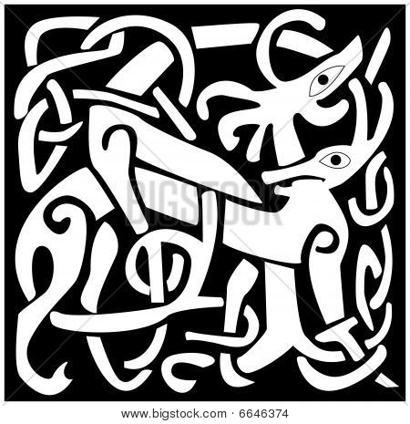 A vector illustration of a Celtic animal