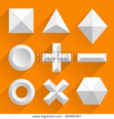 Polygonal shapes vector white