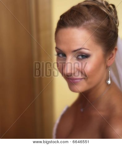 Young Beautiful Bride Looking With Smile At Camera Selective Focus On Left Eye