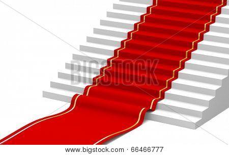 Red carpet on the success ladder. Concept. 3d illustration