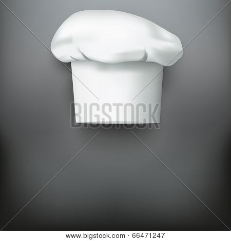 Background with white chef cap toque