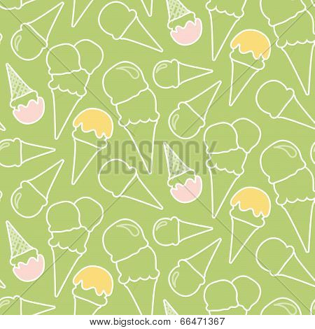 Seamless Summer Ice Cream Pattern