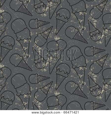 Grunge seamless vector pattern with ice cream cons on grey