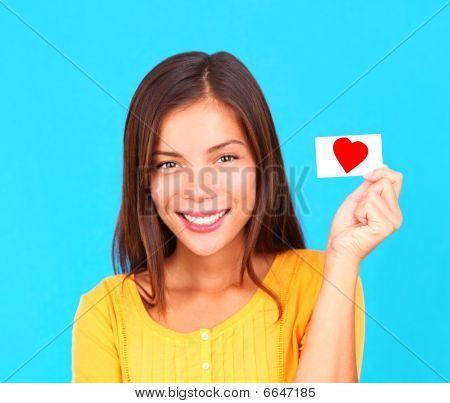 Valentine Woman Holding Love Card