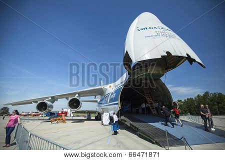 BERLIN, GERMANY - MAY 21, 2014: Strategic airlift jet aircraft Antonov An-124 Ruslan Volga-Dnepr (NATO name: Condor), demonstration during the International Aerospace Exhibition ILA Berlin Air Show.