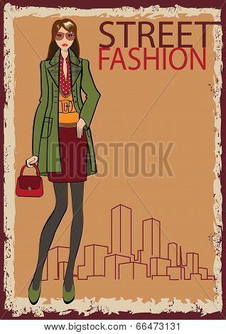 Lovely Trendy Girl. Fashion Illustration