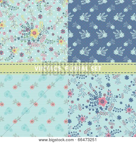 Seamless Pattern Set.flowers,branches,berries In Retro Style