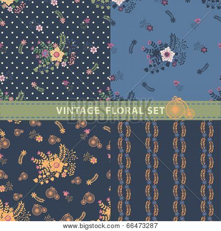 Vintage Seamless Pattern Set.flowers,branches,berries