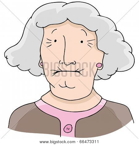 An image of toothless old woman.