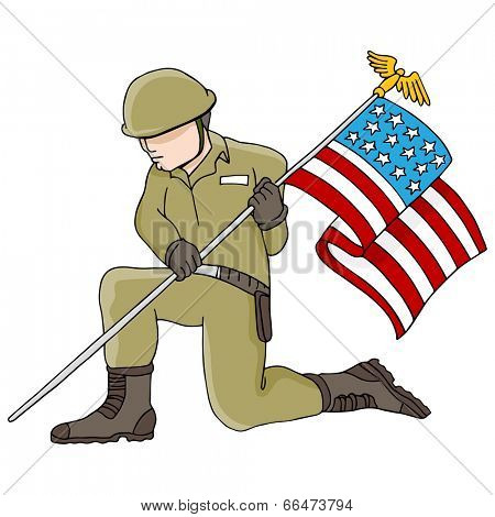 An image of a soldier holding an American flag.