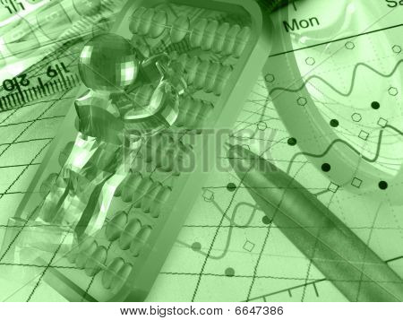 3D Man, Ruler, Pen And Magnifying Glass