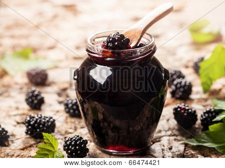 Blackberry jam in a jar