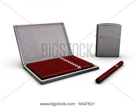 Cigarettecase Lighter And Cigarette