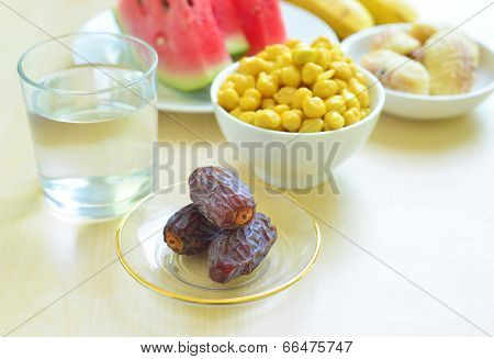 Iftar food - a spread to break a fast during holy month of Ramadan