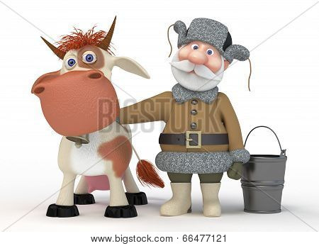 The 3D Grandfather With A Cow.