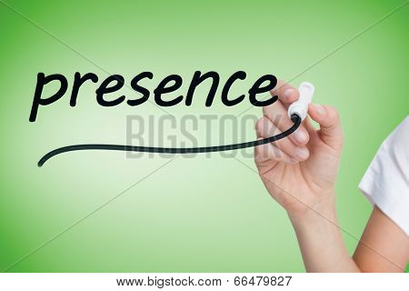 Businesswoman writing the word presence against green vignette