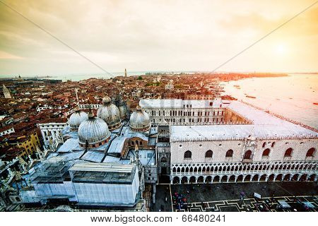 Beautiful view on Grand canal, Basilica Santa Maria della Salute and St. Mark's square in sunset