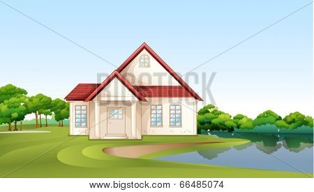 Illustration of a big concrete house near the river
