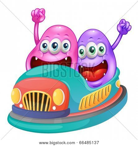 Illustration of the monsters riding on a bumpcar on a white background