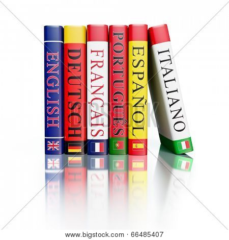 Foreign language study concept background - stack of dictionaries isolated on on white with reflection