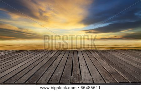 textured of wood terrace and beautiful dusky sky with free copy space use for background,backdrop to