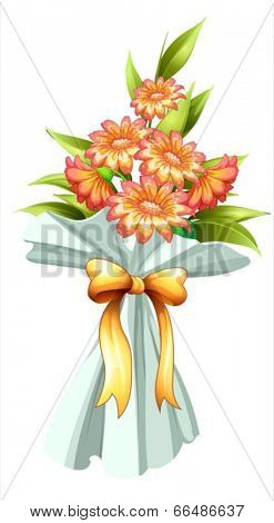 Illustration of a boquet of fresh flowers on a white background