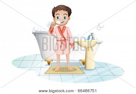 Illustration of a man brushing his teeth on a white background