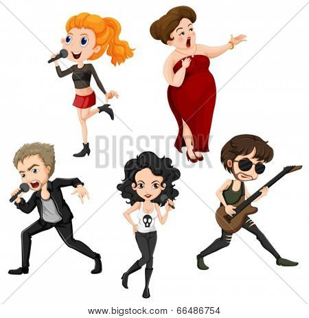 Illustration of the talented singers on a white background