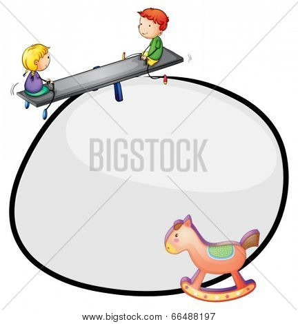 Illustration of a round template with a toy and kids playing on a white background