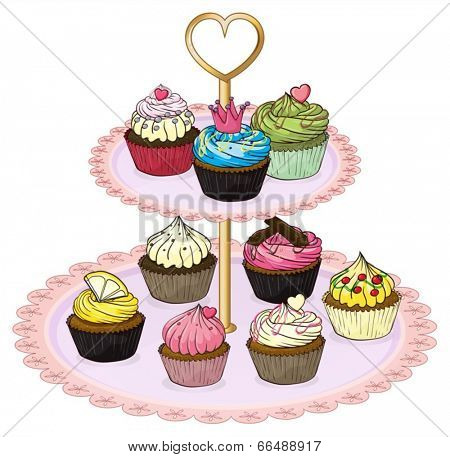 Illustration of a cupcake tray with cupcakes on a white background