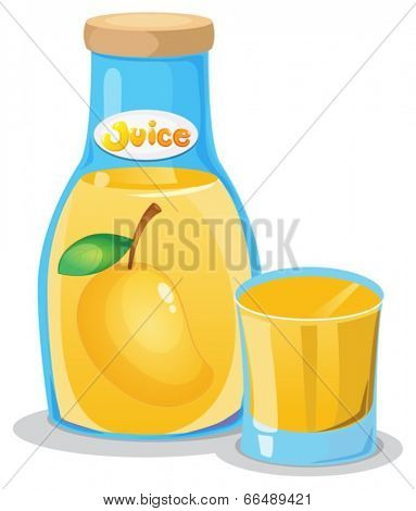 Illustration of a bottle of mango juice on a white background