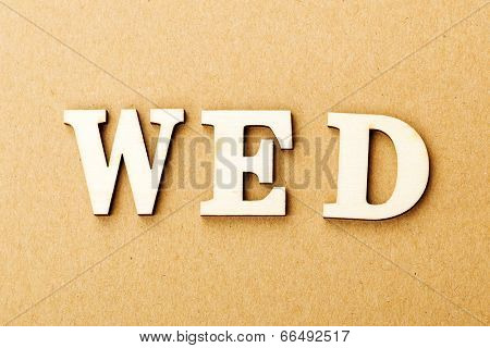 Wooden text for wednesday