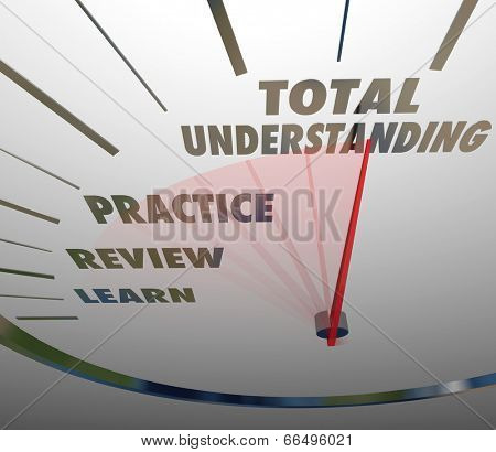 Total Understanding words on a speedometer with Learn, Review and Practice