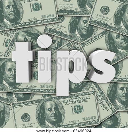 Tips word hundred dollar bills cash money bonus, thank you appreciation excellent service