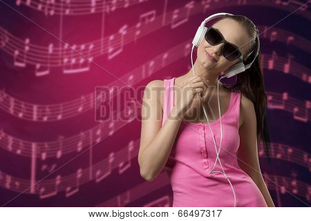 Lovely Female Listening Music