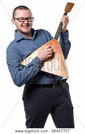 Man in glasses with balalaika