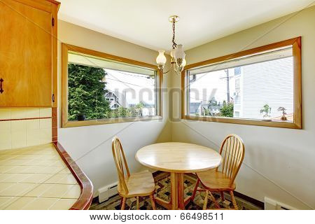 Dining Room With Rustic Table Set