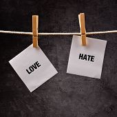 foto of hate  - Love or hate conceptual image - JPG