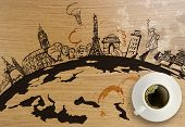 picture of stonehenge  - 3d coffeee cup with traveling around the world wooden background as concept - JPG