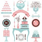 image of vase flowers  - Vector collection of decorative wedding dinner elements - JPG