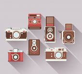 stock photo of polaroid  - Vector 2D Flat Retro Cameras - JPG