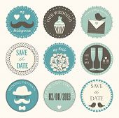 stock photo of champagne color  - Vector collection of decorative wedding icons in retro colors - JPG
