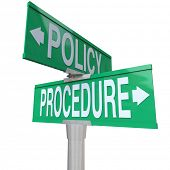 stock photo of policy  - Intersection of Policy and Procedure on two green 2 - JPG